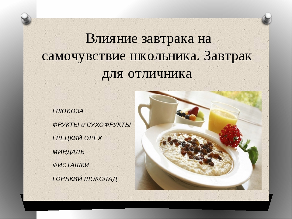 Влияние завтрака на самочувствие школьника. Завтрак для отличника ГЛЮКОЗА ФР...