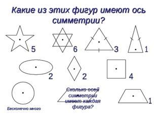 Какие из этих фигур имеют ось симметрии? Сколько осей симметрии имеет каждая