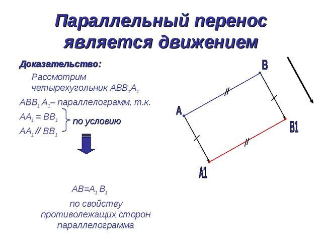 Параллельный перенос является движением Доказательство: Рассмотрим четырехуго...