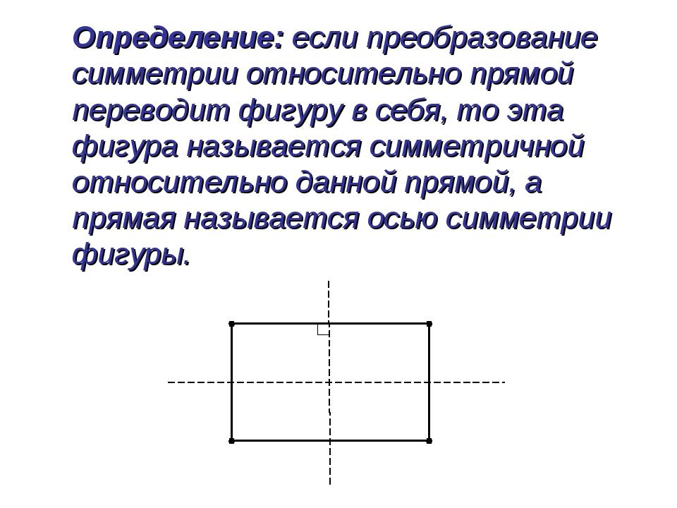 Определение: если преобразование симметрии относительно прямой переводит фиг...