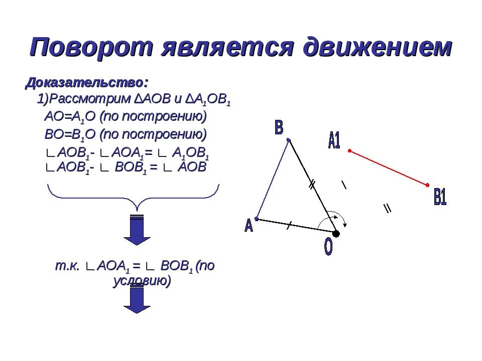 Поворот является движением Доказательство: 1)Рассмотрим ∆АОВ и ∆А1ОВ1 АО=А1О...