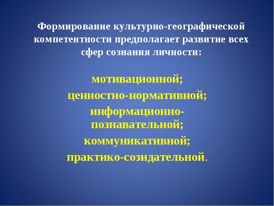 Формирование культурно-географической компетентности предполагает развитие вс...