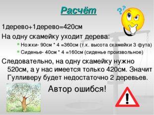 Расчёт 1дерево+1дерево=420см На одну скамейку уходит дерева: Ножки- 90см * 4