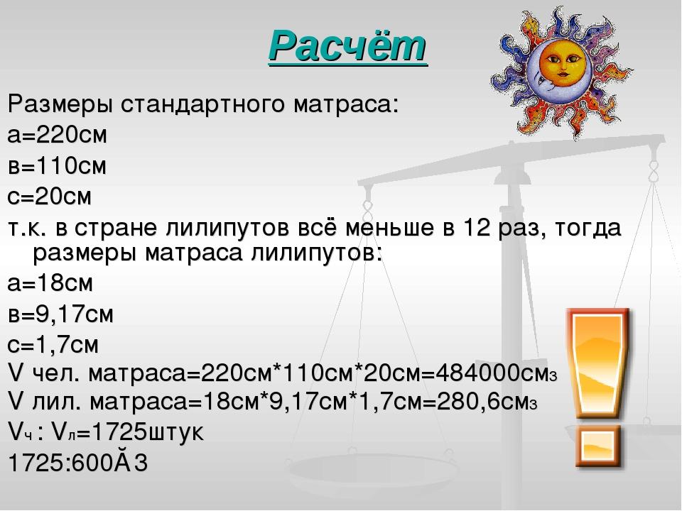 Расчёт Размеры стандартного матраса: а=220см в=110см с=20см т.к. в стране лил...
