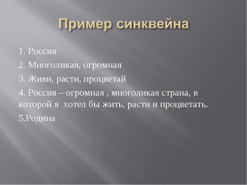 1. Россия 2. Многоликая, огромная 3. Живи, расти, процветай 4. Россия – огром...