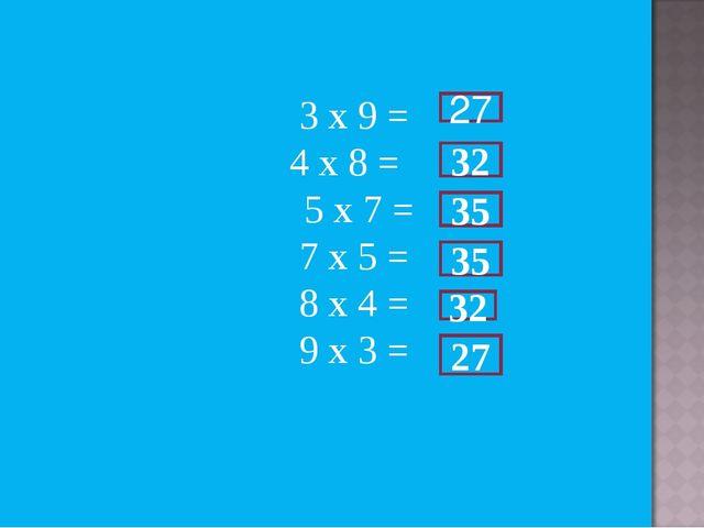 3 х 9 = 4 х 8 = 5 х 7 = 7 х 5 = 8 х 4 = 9 х 3 = 27 32 35 35 32 27