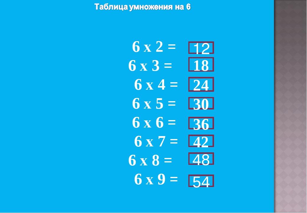 6 х 2 = 6 х 3 = 6 х 4 = 6 х 5 = 6 х 6 = 6 х 7 = 6 х 8 = 6 х 9 = 12 18 24 30...