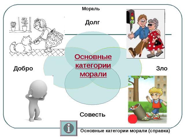 Мораль Основные категории морали Основные категории морали (справка)