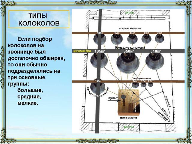 Если подбор колоколов на звоннице был достаточно обширен, то они обычно подра...