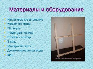 Материалы и оборудование Кисти круглые и плоские Краски по ткани Палитра Рамк