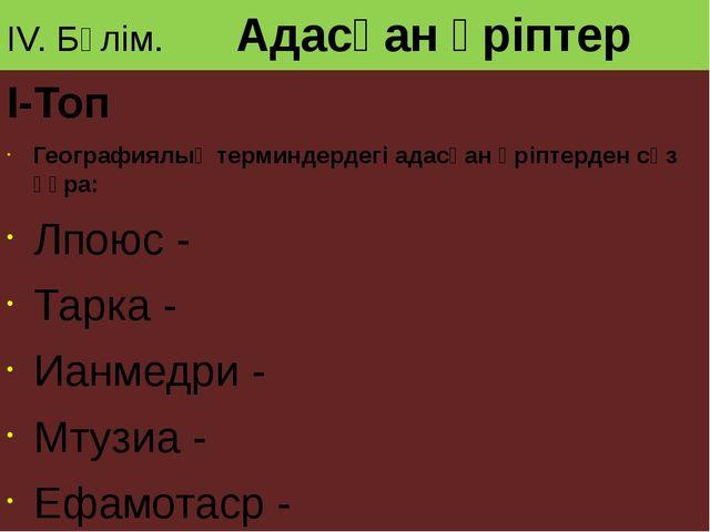 IV. Бөлім. Адасқан әріптер I-Топ Географиялық терминдердегі адасқан әріптерде...