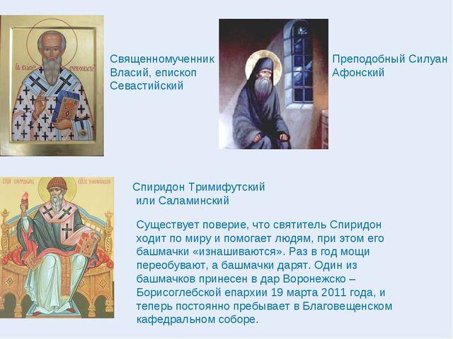 Священномученник Власий, епископ Севастийский Спиридон Тримифутский или Салам...