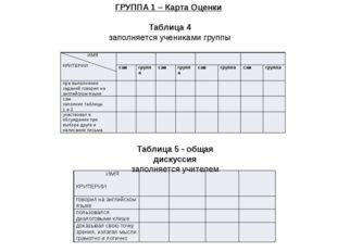Таблица 5 - общая дискуссия заполняется учителем ГРУППА 1 – Карта Оценки Та