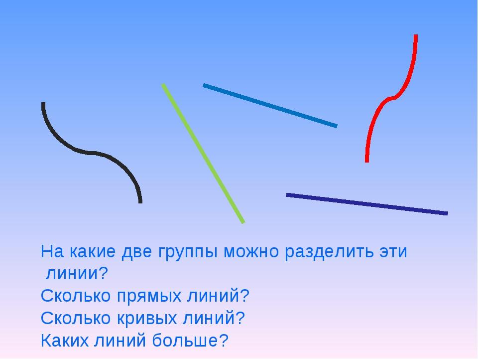 На какие две группы можно разделить эти линии? Сколько прямых линий? Сколько...