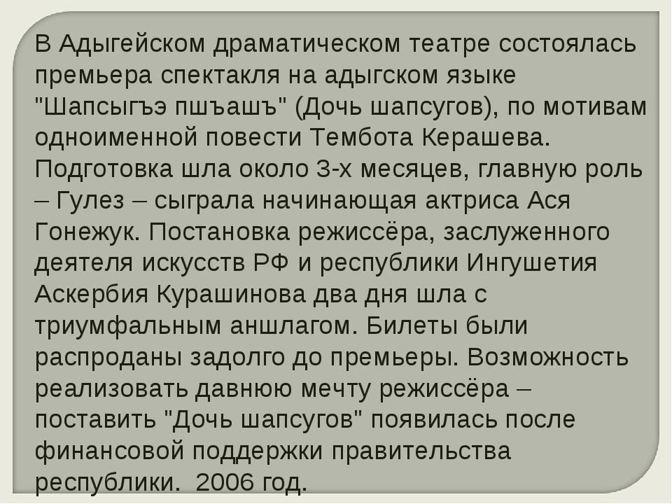 В Адыгейском драматическом театре состоялась премьера спектакля на адыгском я...