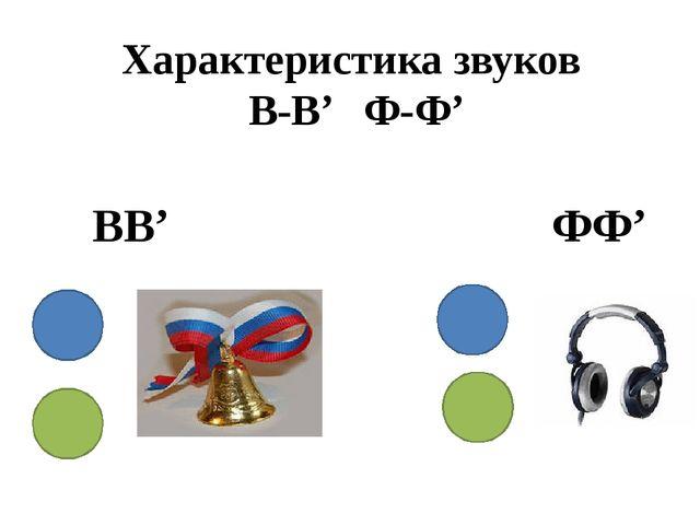 Характеристика звуков В-В' Ф-Ф' ВВ' ФФ'