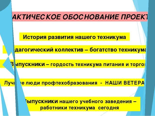ПРАКТИЧЕСКОЕ ОБОСНОВАНИЕ ПРОЕКТА История развития нашего техникума Педагогич...