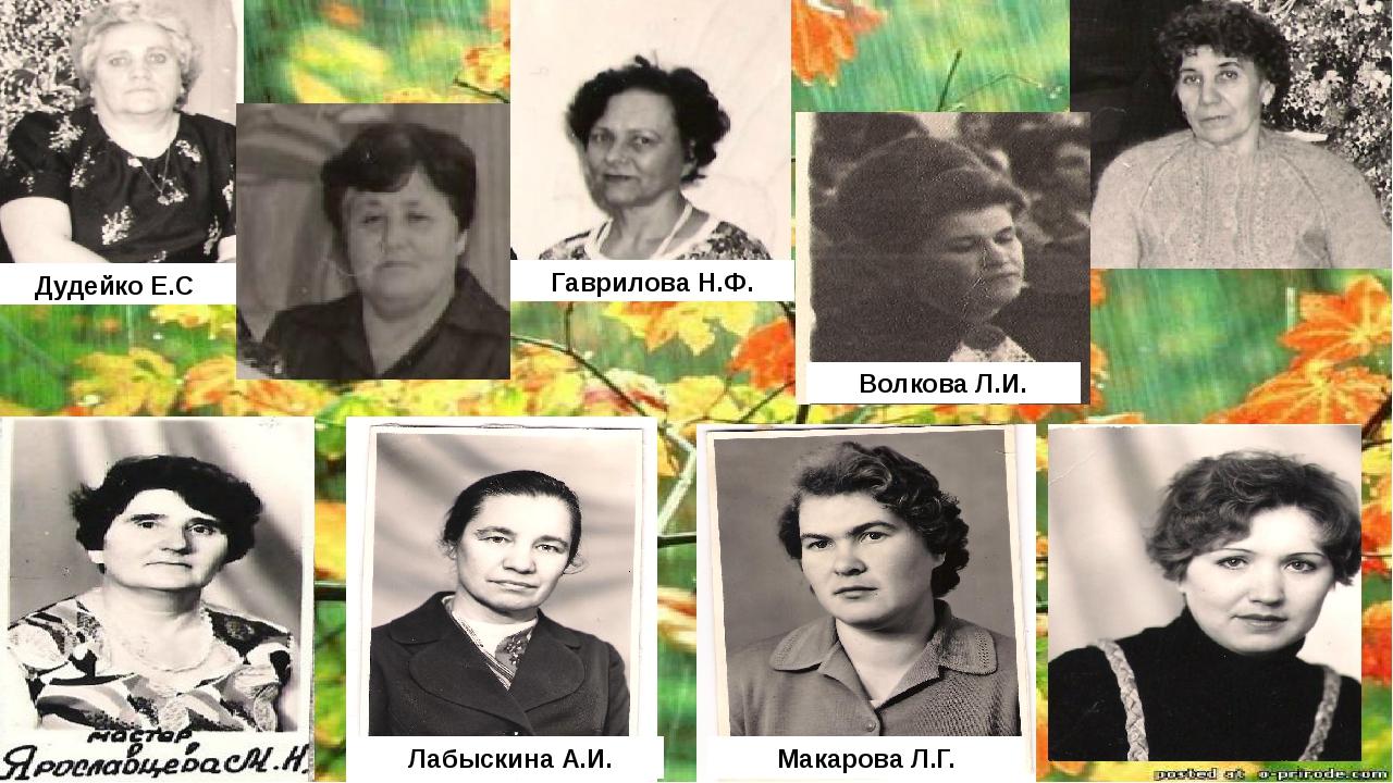 Волкова Л.И. Макарова Л.Г. Лабыскина А.И. Гаврилова Н.Ф. Дудейко Е.С