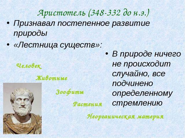 Аристотель (348-332 до н.э.) Признавал постепенное развитие природы «Лестница...