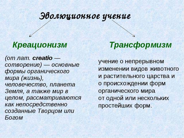 Эволюционное учение Креационизм Трансформизм (от лат. сreatio — сотворение) —...