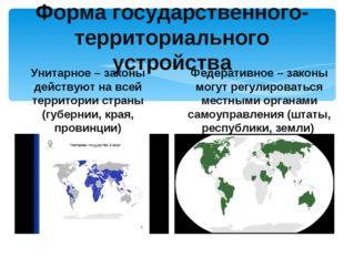Форма государственного- территориального устройства Унитарное – законы действ