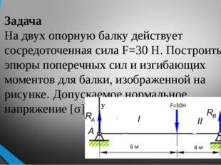 Задача На двух опорную балку действует сосредоточенная сила F=30 Н. Построить