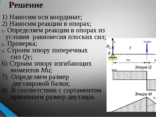 Решение 1) Наносим оси координат; 2) Наносим реакции в опорах; Определяем ре...