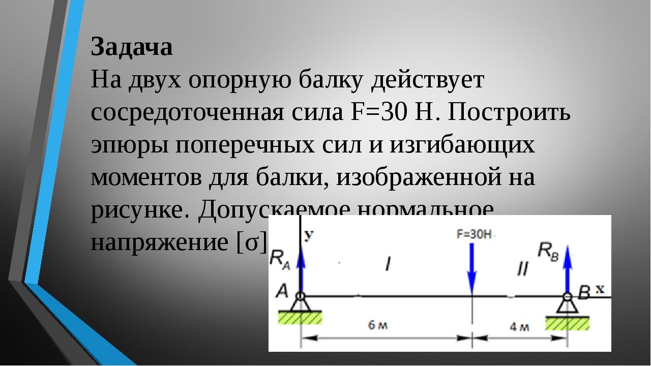 Задача На двух опорную балку действует сосредоточенная сила F=30 Н. Построить...