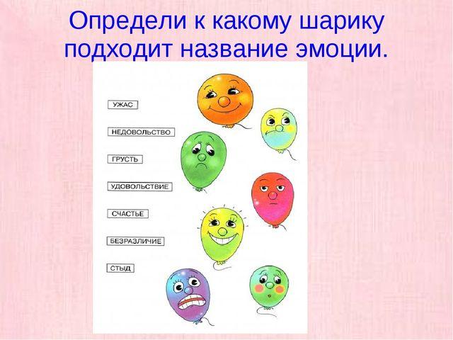 Определи к какому шарику подходит название эмоции.