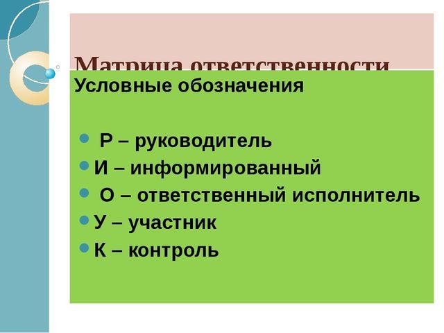 Матрица ответственности Условные обозначения Р – руководитель И – информиро...