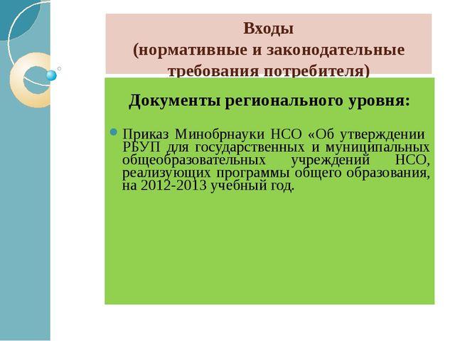 Входы (нормативные и законодательные требования потребителя) Документы регион...