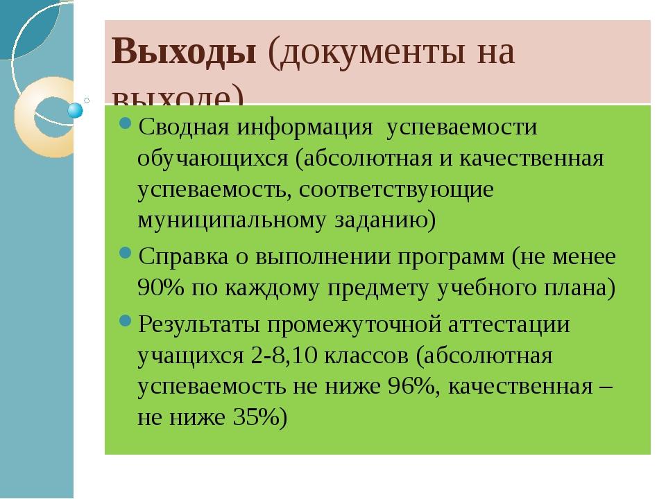 Выходы (документы на выходе) Сводная информация успеваемости обучающихся (абс...