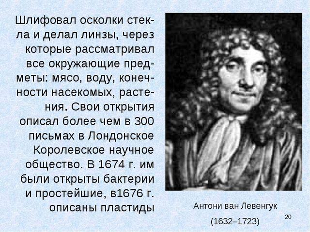 Антони ван Левенгук (1632–1723) Шлифовал осколки стек-ла и делал линзы, через...