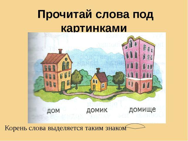 Прочитай слова под картинками Корень слова выделяется таким знаком