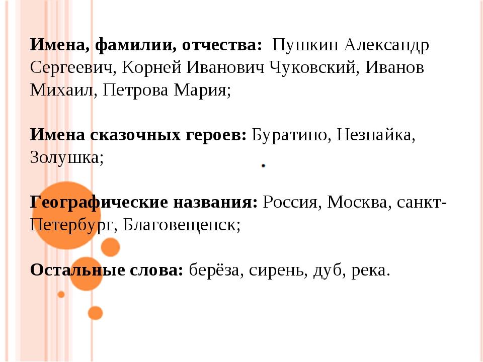 Имена, фамилии, отчества: Пушкин Александр Сергеевич, Корней Иванович Чуковск...