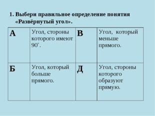 1. Выбери правильное определение понятия «Развёрнутый угол». АУгол, стороны