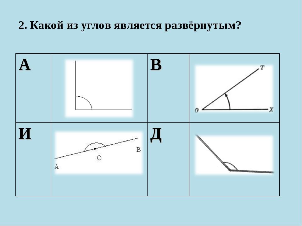 2. Какой из углов является развёрнутым? АВ ИД