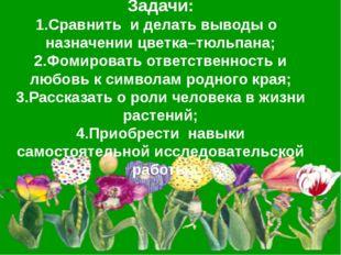 Задачи: 1.Сравнить и делать выводы о назначении цветка–тюльпана; 2.Фомироват