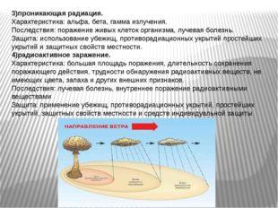3)проникающая радиация. Характеристика: альфа, бета, гамма излучения. Последс