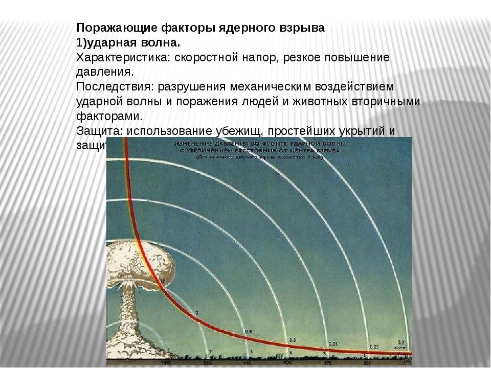Поражающие факторы ядерного взрыва 1)ударная волна. Характеристика: скоростно...