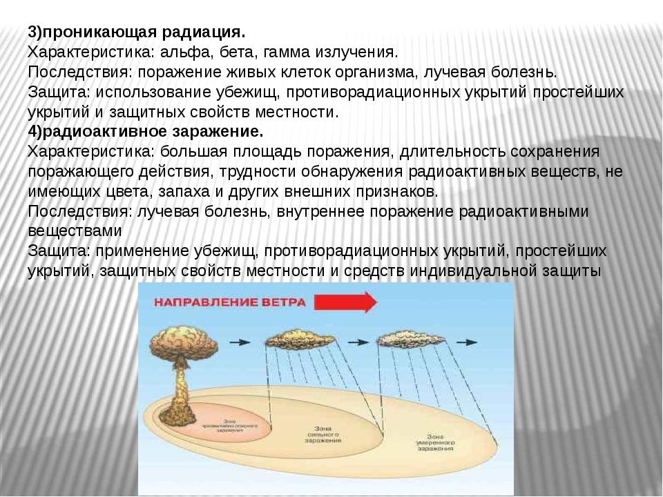 3)проникающая радиация. Характеристика: альфа, бета, гамма излучения. Последс...