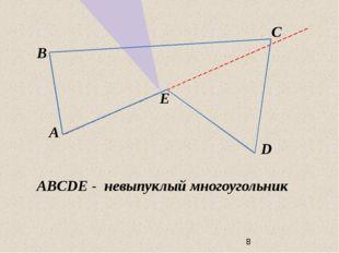 A B E C D ABCDE - невыпуклый многоугольник