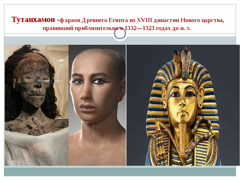 Тутанхамон -фараон Древнего Египта из XVIII династииНового царства, правивш...