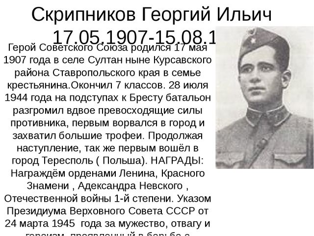 Скрипников Георгий Ильич 17.05.1907-15.08.1944 Герой Советского Союза родился...