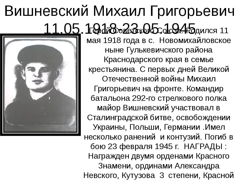 Вишневский Михаил Григорьевич 11.05.1918-23.05.1945 Герой Советского Союза. Р...