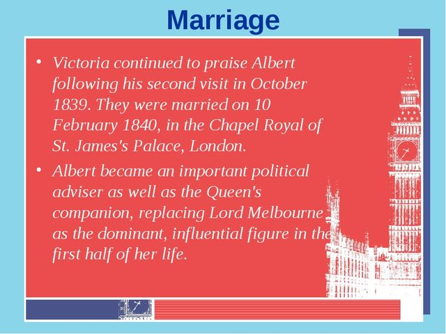 Marriage Victoria continued to praise Albert following his second visit in Oc...