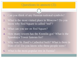 Can you think of any Russian national symbols? What is the most visited place