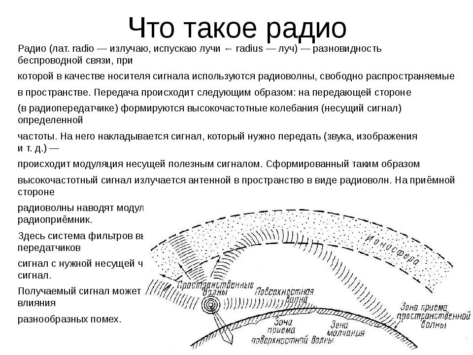 Что такое радио Радио(лат.radio— излучаю, испускаю лучи ←radius— луч)—...