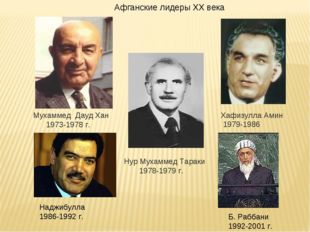Хафизулла Амин 1979-1986 Мухаммед Дауд Хан 1973-1978 г. Афганские лидеры XX в