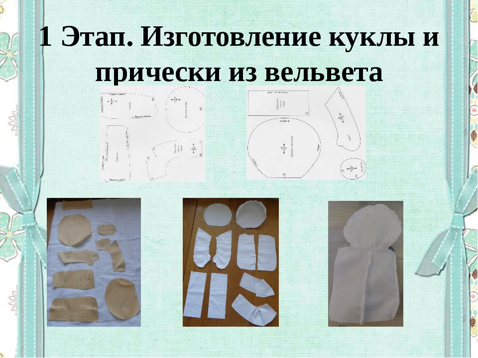 1 Этап. Изготовление куклы и прически из вельвета